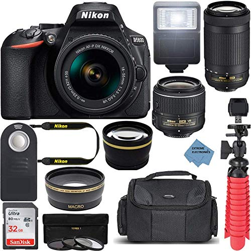 Nikon Intl. D5600 24.2MP DX-Format DSLR Camera with AF-P 18-55mm VR & 70-300mm ED Lens Kit Bundle with Camera Lens, 32GB Memory Card and Accessories (14 Items) wExtreme Ele Cloth nkd5600bundle