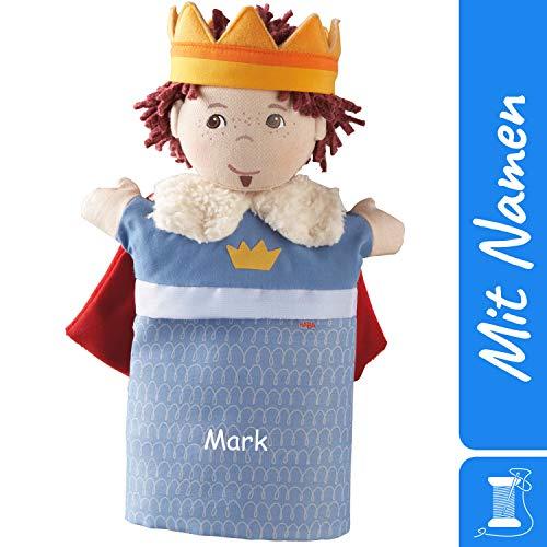HABA Handpuppe Prinz / König mit Namen Bestickt, Puppentheater Kasperletheater Spielfigur mit Krone und Umhang 7287