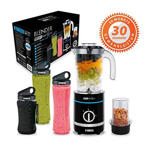 N'OVEEN Fitness Mixer Smoothie Maker, mezclador deportivo multifuncional de 500 vatios - colaciones savoureuses et riches en vitamines pour athlètes, cojo a 6 sujetadores,3 sans BPA,2x 600 ml y 300 ml