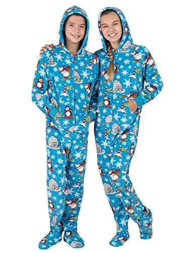 Footed Pajamas - Winter Wonderland Kids Hoodie Fleece Onesie - Kids - XLarge (Fits 5'0 - 5'3')