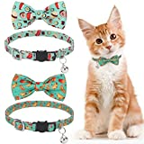 KOOLTAIL Cat Collars Breakaway with Bells - 2 Pack Bowtie Cat Collar with Cute Sushi & Hamburger Patterns, Kitten Neck Accessories for Daily Wearing