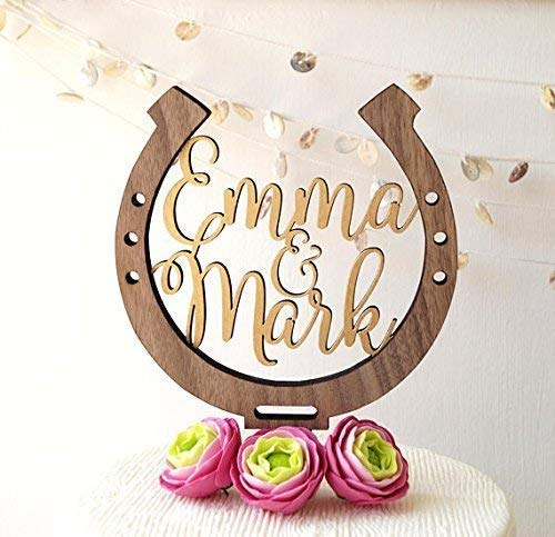 Horseshoe cake topper, personalized wedding cake topper, horseshow wedding cake decoration, rustic wooden cake topper, country wedding decor