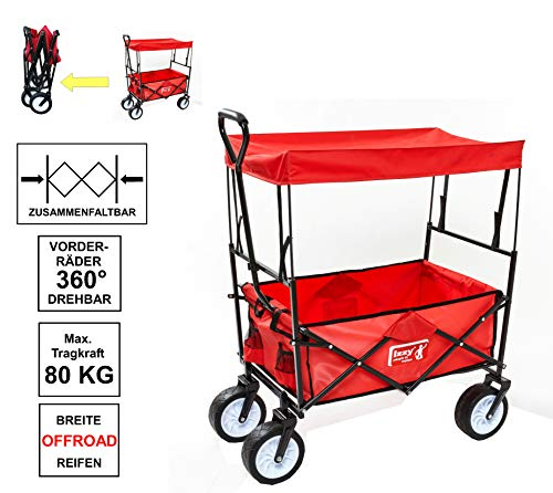 Izzy Bollerwagen faltbar mit Dach Kinder rot Kohlfahrt Boßeln Karneval Handwagen Transportwagen Holz Metall (Breitreifen)