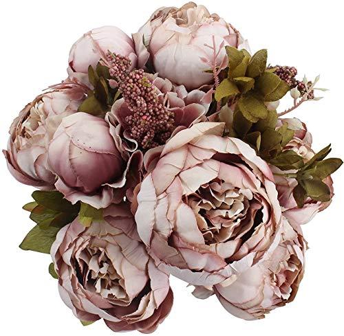 Ksnnrsng Künstliche Blumen Pfingstrose Kunstblumen Seidenblumen Unechte Blumen Seidenpfingstrose Seide Blumenstrauß Jahrgang Hochzeit Zuhause Dekoration (Hellbraun)