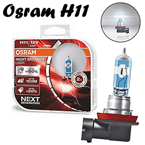 2 x Osram H11 55 W 12 V PGJ19-2 Night Breaker Laser + 150 % Next Generation 64211NL-HCB Blanco claro Blanco Repuesto Faros Halógenos Auto Lámpara – Certificado E