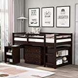 Kteam Low Study Twin Size Loft Bed with Cabinet/Rolling Portable Desk/Bookshelf, Solid Pine Wood Bed Frames(Espresso)