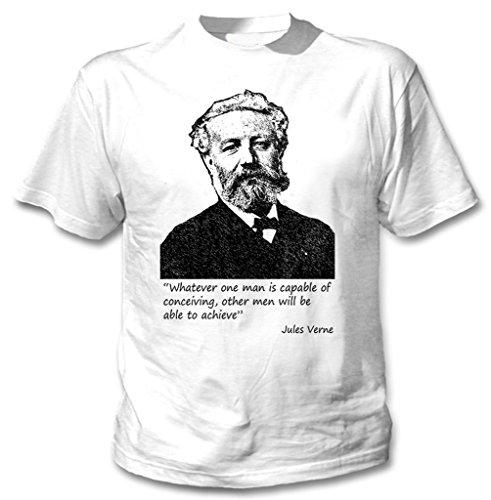 teesquare1st Verne Jules Camiseta Blanca para Hombre de Algodon Size Xlarge