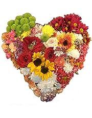 Flores naturales a domicilio en forma de corazon con el envio y la nota dedicatoria incluido en el precio