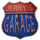 Tin Shop Signs | Vintage Garage Tin Sign Shield Shape | Personalized for Your Specific Needs | Shield Shape 15x14 inches