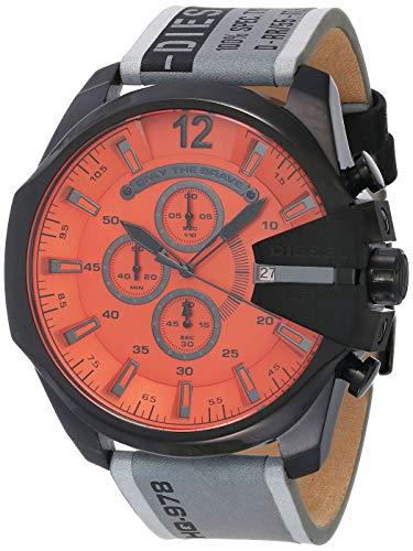 Diesel Mega Chief- Reloj cronógrafo con Correa de Piel Gris para Hombre - DZ4535