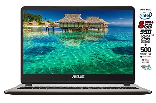 Asus Vivobook notebook, SSD M.2 da 256Gb + HDD 500GB, Cpu Intel N4000 fino a 2.6Ghz, RAM 8Gb DDR4, Display da 15,6 HD, wi-fi, 3 Usb, Bt, Win 10 pro, Office 2019, Pronto All'uso Gar. Italia