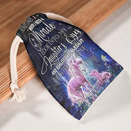 NC83 12-delige set organiseren canvas trekkoord doek tas wasbaar product pouch Use voor Kerstmis jubileum geschenken wrap tas - When I Need Miracle In Daughter's Eyes patroon gedrukt 20 * 25cm wit