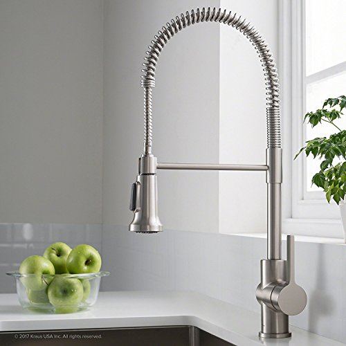 Kraus Britt Single Handle Commercial Kitchen Faucet with Dual Function Sprayhead in all-Brite