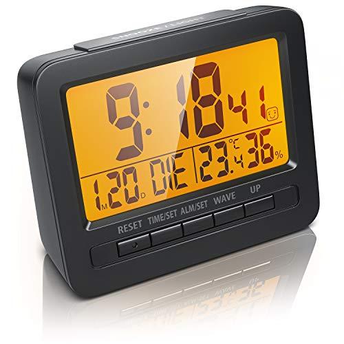 CSL - Wecker Funk Digital Reisewecker DCF Funkuhr - 2,7 LCD-Display - Orange LED Hintergrundbeleuchtung - DCF77 Funksignal - Alarm- und Schlummerfunktion - Raumtemperatur Luftfeuchtigkeitanzeige