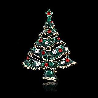 Deniferymakeup Fashion Rhinestone Christmas Tree Pin Brooch Tiny Pin Christmas Gift Craft Brooch Vintage Rhinestone Christmas Jewelry Exceptional Clear Crystal Christmas Tree Pin (Green Top Star)