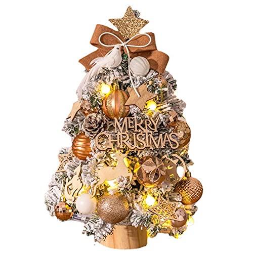 GYLTFL 45cm Árbol de Navidad Mini, Pequeño Árbol de Navidad Artificial con LED y 26pcs Decoracion Adornos, Decoraciones para el Hogar de Navidad