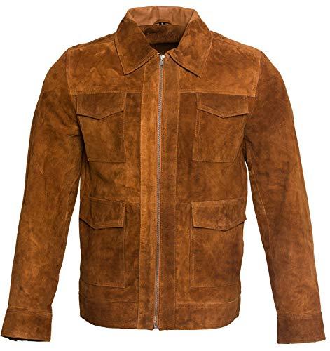 Infinity Leather Herren Safari Bräunen 100% Ziegenveloursleder Harrington Wildleder Jacke M