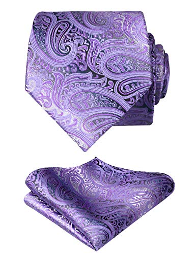 Alizeal Paisley Men's Tie and Pocket Square Sets (59' Length x 3.5' Width, Lilac)