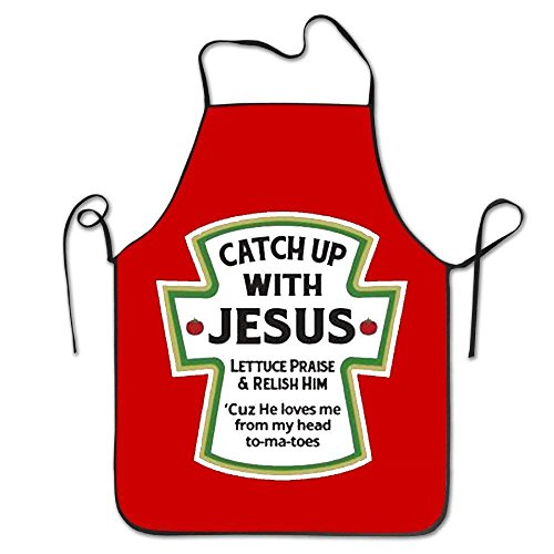 YISHOW Personalized Kitchen Aprons Catch Up with Jesus Christian Women's Men's Machine Washable Durable String Apron for BBQ,Cooking,Working,Grilling,Baking,Crafting