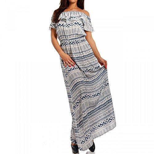Young-Fashion Maxikleid Hippie Bohemian Bodenlanges Kleid Strandkleid mit Volant Carmen Ausschnitt, Farbe:Blau;Größe:One Size