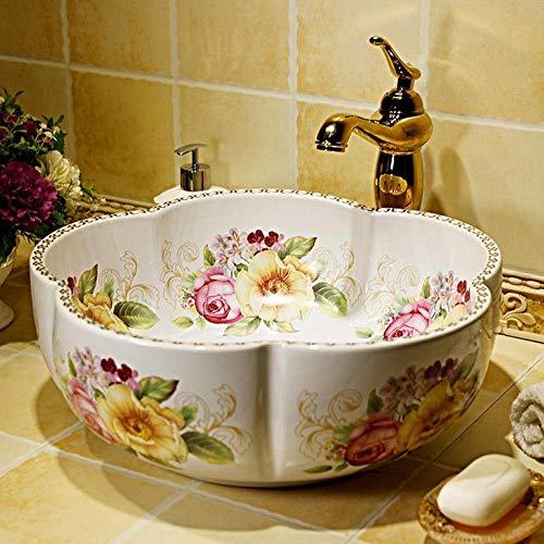 ZLXLX badkamer wastafel aanrecht wastafel wastafel wastafel schalen kom kunst Chinese Europa vintage stijl kunst wastafel keramische aanrecht Top wastafel badkamer