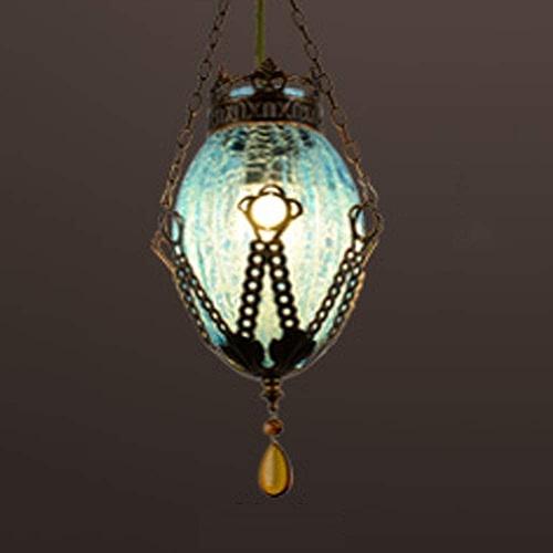 LRXHGOD Lustre balayant Or Verre Fer rétro réglable Pendentif lumières pour Bar café-Restaurant allée éclairage décoratif,bleu