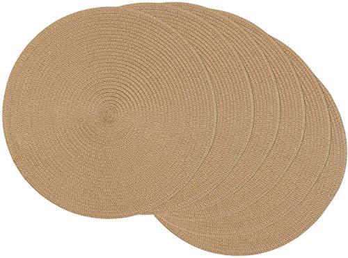 SHACOS - Juego de 6 manteles individuales redondos de polipropileno y papel, resistentes al calor, resistentes a las manchas, lavable para cocina, cena, fiesta, decoración de mesa, 38 cm