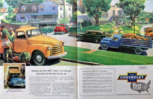 1952 Ford Trucks, Painting of neighborhood scene[Aelck]Print advertisment. 50's Color Illustration, 20 3/4' x 13 1/2' centerfold, Print art. (trucks doing differnt jobs) Original Vintage, 1952 Collier's Magazine Print art