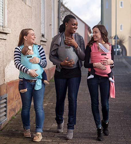 ❤️ Tragetuch Baby von Cuddlebug ❤️ mit Gratisversand – 5 Farboptionen – Baby Carrier Sling – Babytragetuch Neugeborene – Elastisches Tragetuch (Grau) - 9