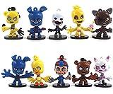 BESTZY Five Nights at Freddy's Action Figure 10pcs Foxy, Gold Freddy, Chica e Endoscheleton Freddy(2,5 Pollici)