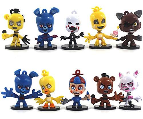 BESTZY Spielzeugfiguren-Fünf Nächte bei Toy Bear - Figuren Modell Set Pack of 10,Bär Figuren Spielzeugpuppe mit Runder Basis (2,5 Zoll)