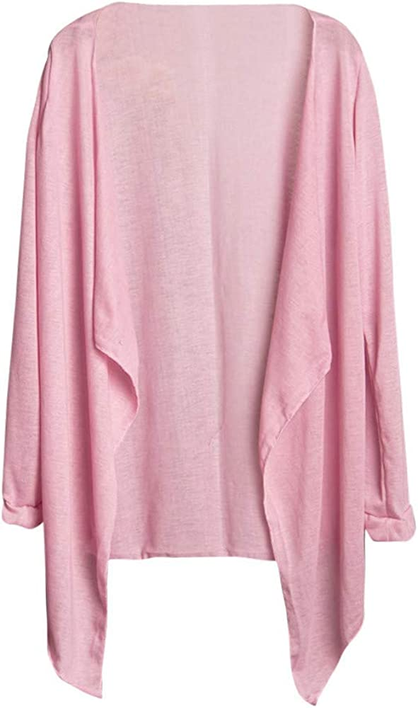 Womens Open Drape Cardigan and One Size Cardigan Sweater Long Sleeves (Free Size, Pink)