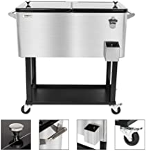 VINGLI 80 Quart Rolling Ice Chest, Portable Patio Party Bar Drink Cooler Cart, with Shelf, Beverage Pool with Bottle Opener (Stainless Steel)