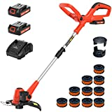 PAXCESS 20V 10-Inch Cordless String Trimmer/Lawn Edger, Weed Wacker with 2 PCS 1.5Ah Battery, 1Pcs Charger and 10Pcs Replacement Spool Line, Length Adjustable Weed Wacker