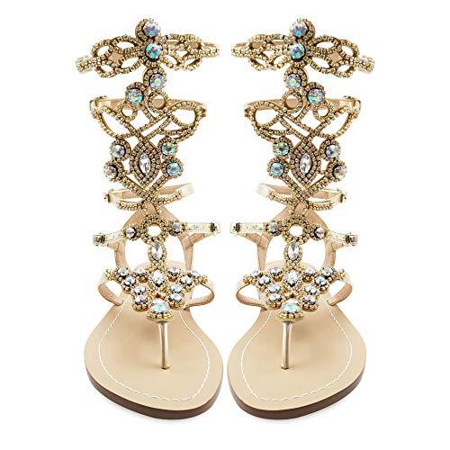 Hinyyrin Women's Rhinestone Sandals, Gold Gladiator Sandals, Summer Flat Dress Sandals, Beach, Wedding, Banquet Size 9