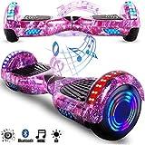 Magic Vida Skateboard Électrique 6.5 Pouces Bluetooth Puissance 700W avec Deux Barres LED Gyropode Auto-Équilibrage de Bonne qualité pour Enfants et Adultes(Violet Ciel