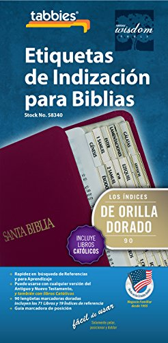 Tabbies Catholic Spanish Gold-Edged Bible Indexing Tabs, Old & New Testament Plus Catholic Books, 90 Tabs Including 71 Books & 19 Reference Tabs (58340)
