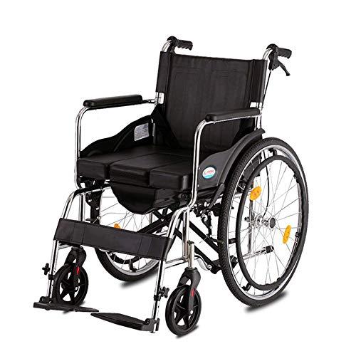 con una Silla de Ruedas para Ir Al Baño, Pliegue Luz para Ancianos Portátil Discapacitados Carro para Sillas de Ruedas Viajes, TWL LTD-Wheelchairs, Neumático sólido
