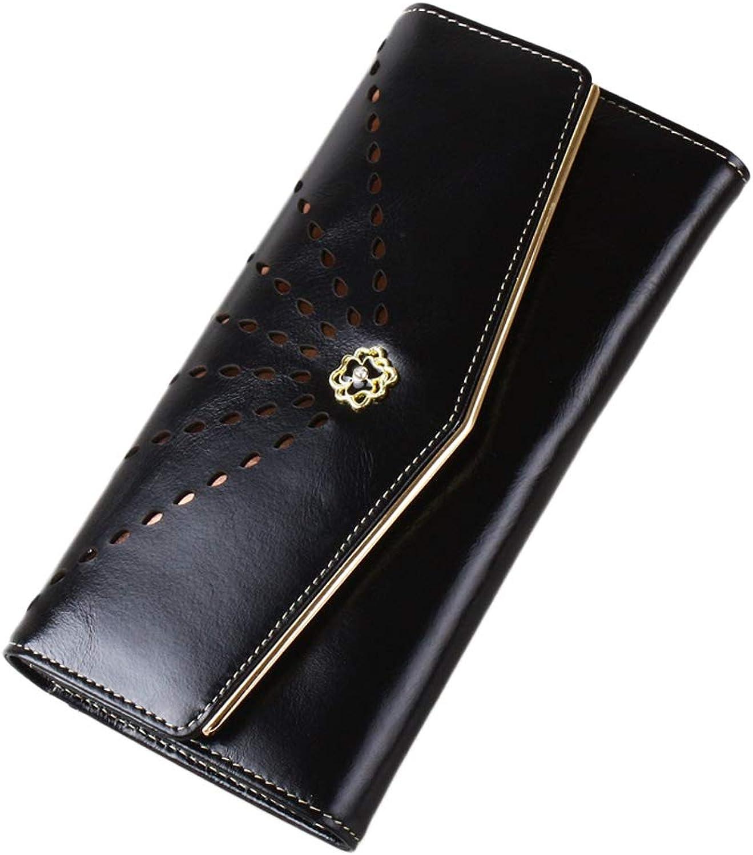 Mifusanahorn Damenmode Hollow Engraved Umschlag Damenbrieftasche c (Farbe   schwarz) B07MZWTC4B