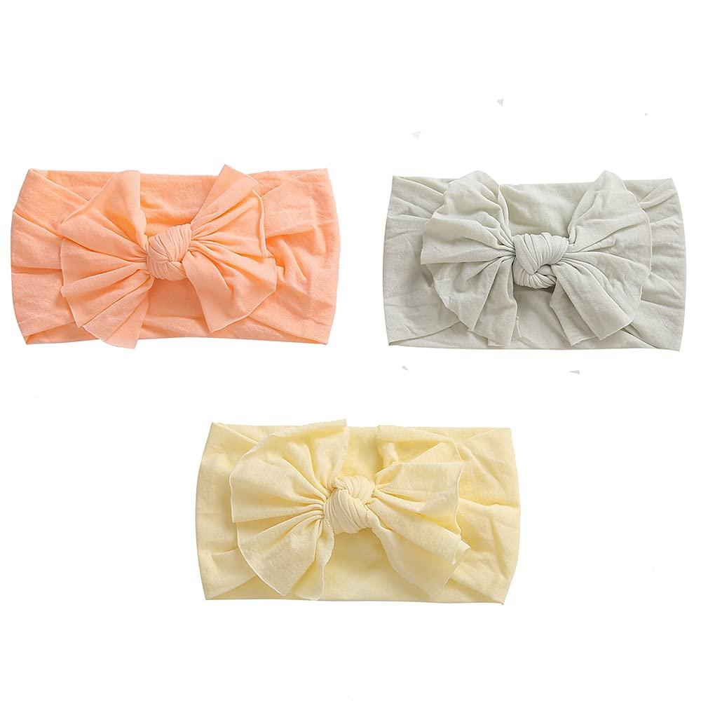 BellaRoo Baby Girl 3 Pack Pastel Halloween & Fall Colors Nylon Headbands Hair Head Bows for Toddler Newborn & Infant Girls