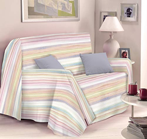 Cubresofá, cubrecama, manta decorativa granfoulard. Funda para sofá a rayas, funda de sofá de fantasía.