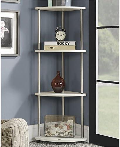 Pemberly Row Alternative dealer Four-Tier latest Corner Shelf White Wood Finish in