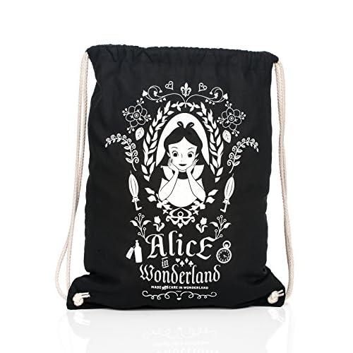 Alice nel Paese delle Meraviglie - Borsa sportiva sacca specchio magico Disney 45 x 39 cm cotone nero