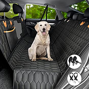 4-in-1 Dog Car Seat Cover MAXTIGERS Versatile Dog Car Hammock Scratchproof Nonslip Rear Pet Seat Cover with Mesh Window 2 Seat Belts for Cars Trucks SUV