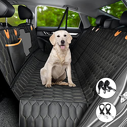 4-in-1 Dog Car Seat Cover, MAXTIGERS Versatile Dog Car Hammock, Scratchproof Nonslip Rear Pet Seat Cover with Mesh Window 2 Seat Belts for Cars Trucks SUV