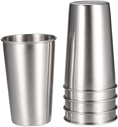 Anself 5PCS Stainless Steel Pint Cups Tumbler Beer Mug Travel & Cooler Mugs Silver