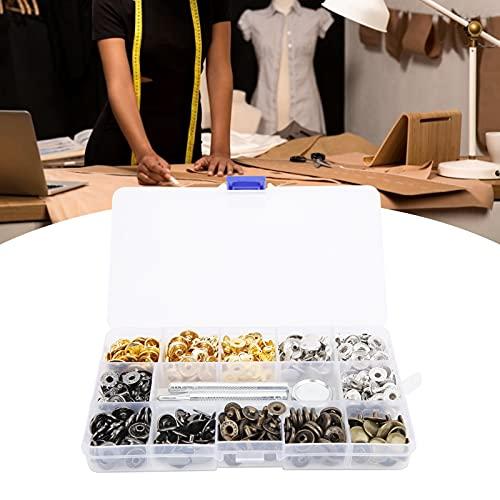 Juego de broches de color, botones de presión de metal, 120 juegos de botones a presión de cuero Kit de sujetadores coloridos con herramienta de encuadernación
