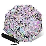 Paraguas plegable de viaje, Marbled Pastel automático TRIF-Old a prueba de viento para mujeres con protección UV Auto Open & Close