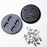Mangobuy Conjunto de discos de encuadernación para snowboard Disco negro (par) Piezas de repuesto de encuadernación Placas de montaje Técnica de sujeción