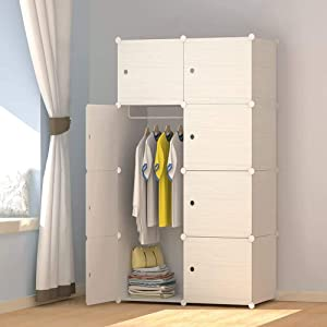 JOISCOPE MEGAFUTURE Wood Pattern Portable Wardrobe Closet for Hanging Clothes,Combination Armoire, Modular Cabinet for Space Saving, Ideal Storage Organizer Cube for Books, Toys, Towels (8-Cube)